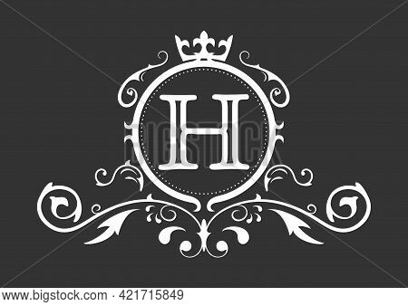 Stylized Letter H Of The Latin Alphabet. Monogram Template With Ornament And Crown For Design Of Ial