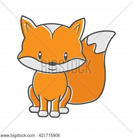 Fox Cub. Children's Cartoon Character For Books, And Theme Design. Flat Style.