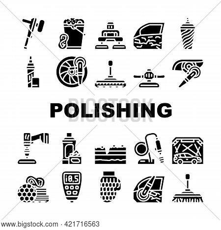 Car Polishing Tool Collection Icons Set Vector. Screwdriver With Different Attachment And Sponges Fo