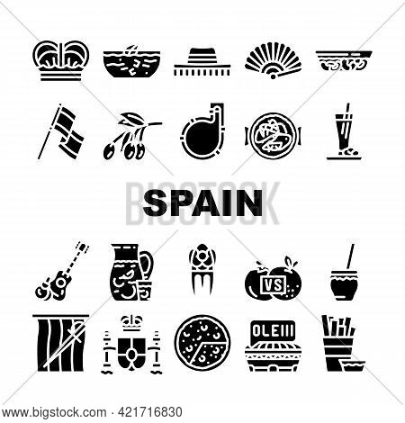 Spain Nation Heritage Collection Icons Set Vector. Gazpacho, Omelet And Paella Spain Dish, King Crow