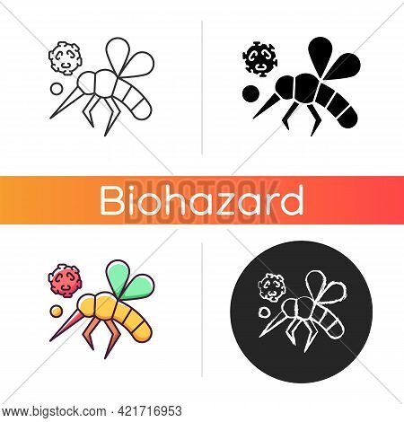 Insects Icon. Dangerous Poisonous Bugs Spread Diseases. Blood Infection. Biological Risk. Mosquito S