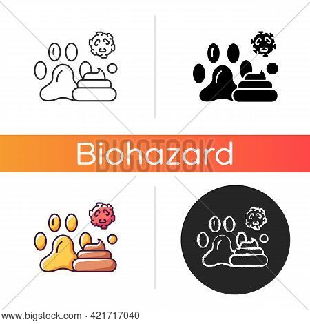 Animal Waste Icon. Source Of Transmitting Infection. Spreading Toxic Particles. Biological Risk. Dan