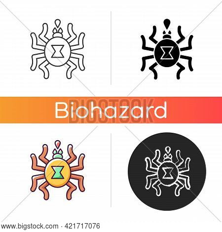 Venomous Insects Icon. Dangerous Bugs Transimitting Infectious Disease. Spider Toxin, Biological Ris
