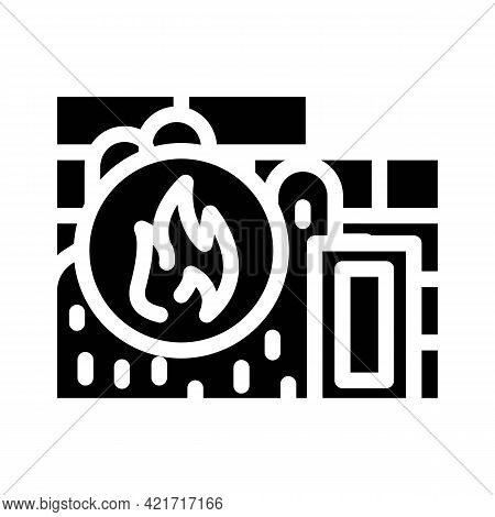 Flame Proof Building Material Glyph Icon Vector. Flame Proof Building Material Sign. Isolated Contou