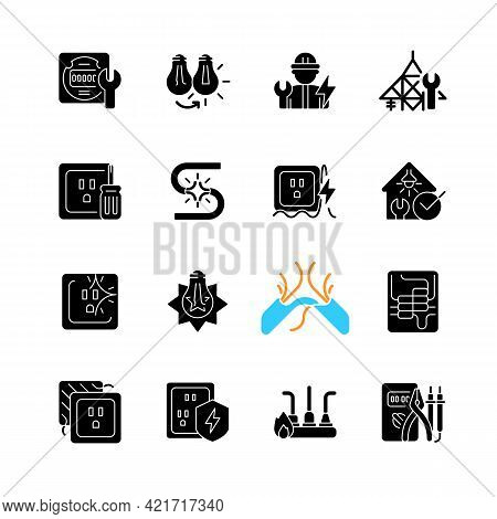 Electrician Service Black Glyph Icons Set On White Space. Changing Lightbulb. Operating With Electri