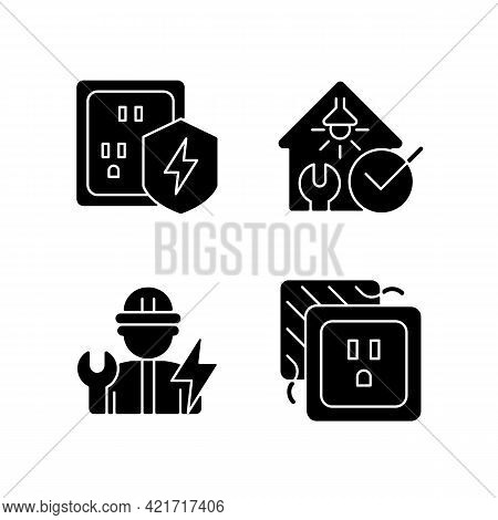 Electrician Service Black Glyph Icons Set On White Space. Surge Protection. Electrical Safety Inspec