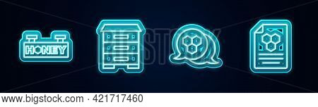 Set Line Hanging Sign With Honeycomb, Hive For Bees, Honeycomb And . Glowing Neon Icon. Vector