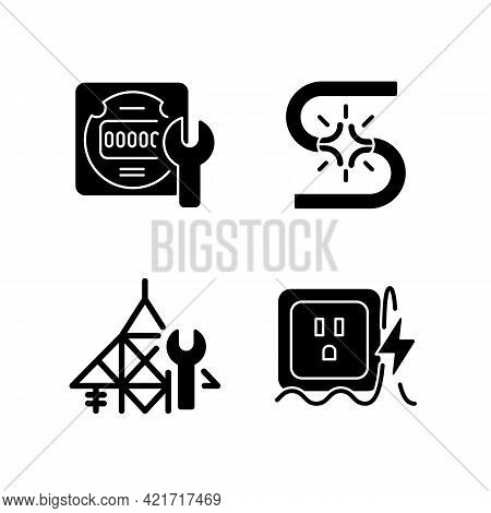 Electrician Service Black Glyph Icons Set On White Space. Energy Meter Maintenance. Short Circuit. P