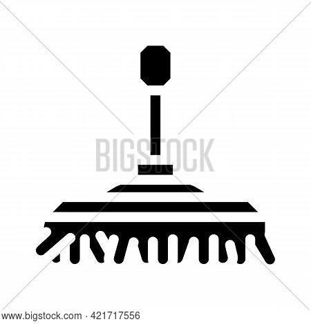 Brush For Washing Car Glyph Icon Vector. Brush For Washing Car Sign. Isolated Contour Symbol Black I