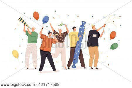 Happy People Celebrating Birthday With Confetti, Balloons, Party Hats And Horns. Holiday Celebration