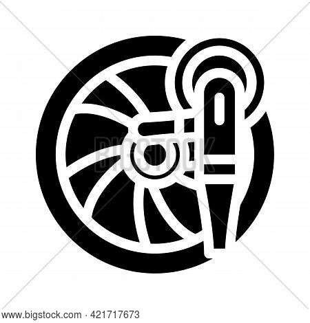Wheel Disc Car Polishing Glyph Icon Vector. Wheel Disc Car Polishing Sign. Isolated Contour Symbol B