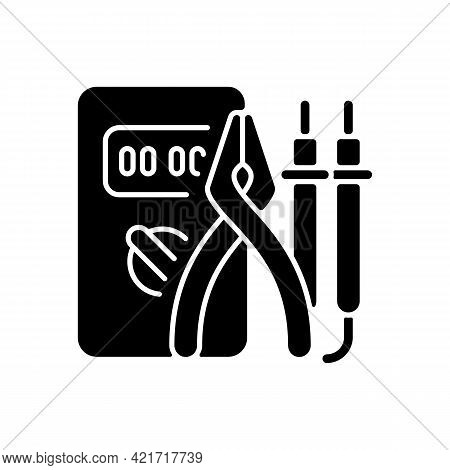 Electrician Tools Black Glyph Icon. Test Instruments. Ensuring Optimal Safety. Screwdrivers, Pliers.