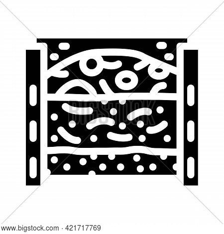 Layers Of Material In Composter Glyph Icon Vector. Layers Of Material In Composter Sign. Isolated Co