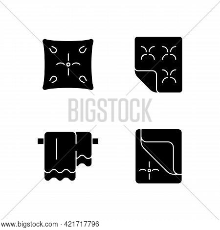 Household Cloth Black Glyph Icons Set On White Space. Soft Cushion. Orthopedic Mattress. Hanging Bat