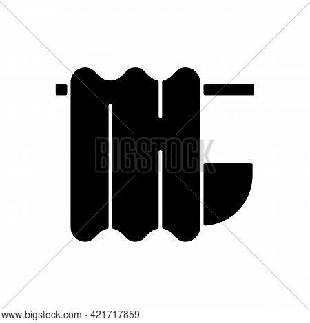 Bath Curtain Black Glyph Icon. Bathroom Drapes On Rod. Shower Drapery. Textile Products, Household C