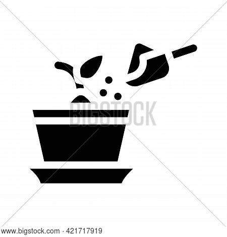 Potted Plant With Compost Glyph Icon Vector. Potted Plant With Compost Sign. Isolated Contour Symbol