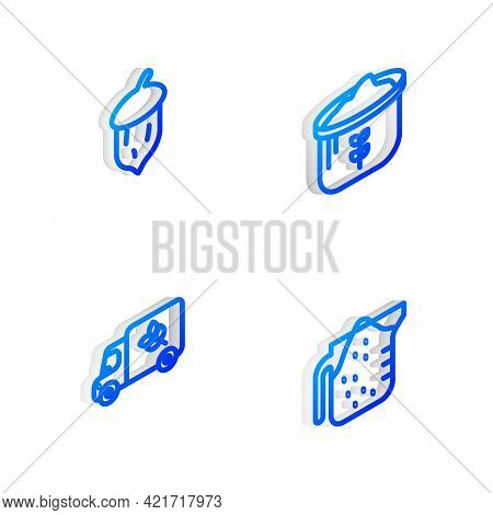 Set Isometric Line Bag Of Flour, Acorn, Oak Nut, Seed, Flour Truck And Measuring Cup Icon. Vector
