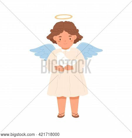 Cute Happy Angel With Halo And Wings Holding Peace Dove In Hands. Peaceful Little Girl With Bird. Co