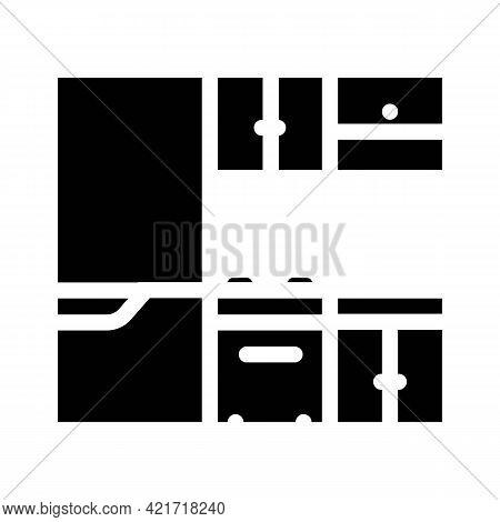 Kitchen Furniture Glyph Icon Vector. Kitchen Furniture Sign. Isolated Contour Symbol Black Illustrat