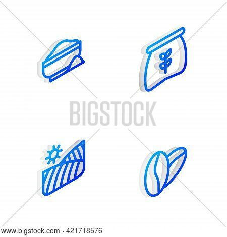 Set Isometric Line Bag Of Flour, Flour Bowl, Agriculture Wheat Field And Coffee Beans Icon. Vector