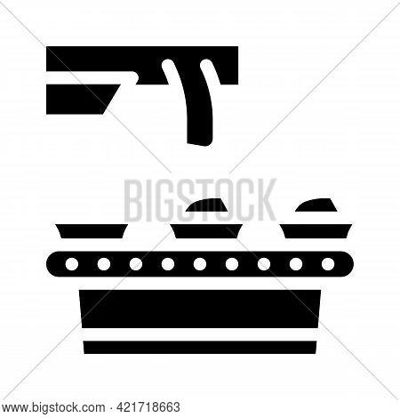 Food Conveyor Glyph Icon Vector. Food Conveyor Sign. Isolated Contour Symbol Black Illustration