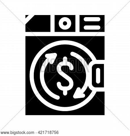 Money Laundering In Laundry Machine Glyph Icon Vector. Money Laundering In Laundry Machine Sign. Iso