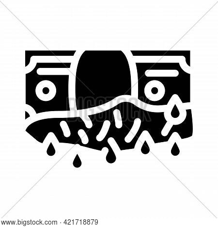 Bloody Money Glyph Icon Vector. Bloody Money Sign. Isolated Contour Symbol Black Illustration