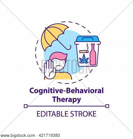 Cognitive Behavioral Therapy Concept Icon. Addiction Treatment Methods. Psychological Treatment. Med