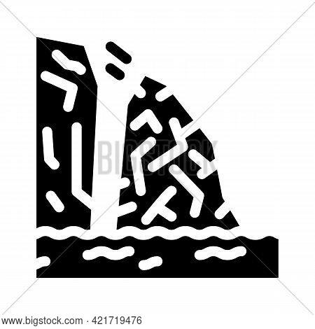 Breakaway Iceberg Disaster Glyph Icon Vector. Breakaway Iceberg Disaster Sign. Isolated Contour Symb