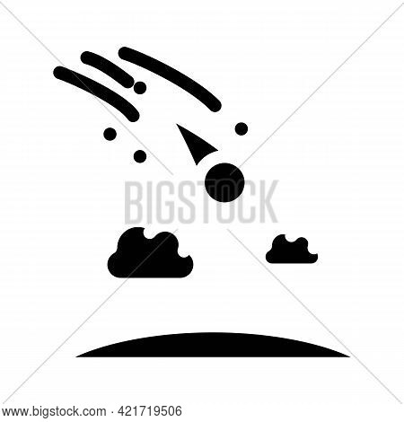 Meteor Falling Disaster Glyph Icon Vector. Meteor Falling Disaster Sign. Isolated Contour Symbol Bla