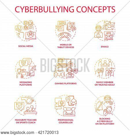 Cyberbullying Concept Icons Set. Harassing People Online Idea Thin Line Rgb Color Illustrations. Mes