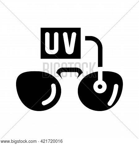 Ultra Violet Uv Glasses Glyph Icon Vector. Ultra Violet Uv Glasses Sign. Isolated Contour Symbol Bla