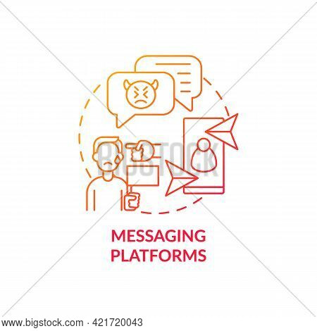 Messaging Platforms Concept Icon. Cyberbullying Channel Idea Thin Line Illustration. Hurtful Text Me