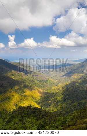 Bird's-eye View Of The Mountains And Fields Of The Island Of Mauritius.landscapes Of Mauritius.