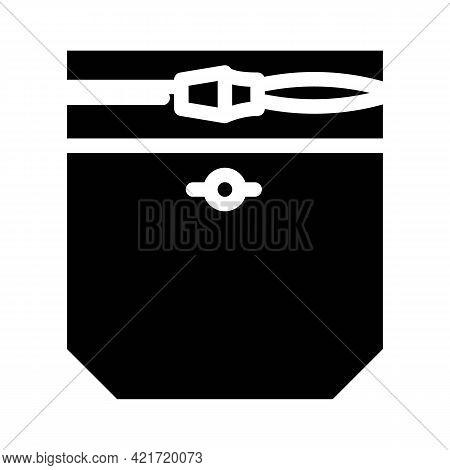 Zipper Lock Pocket Glyph Icon Vector. Zipper Lock Pocket Sign. Isolated Contour Symbol Black Illustr