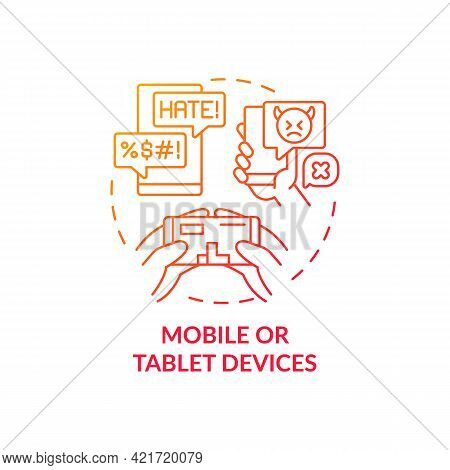 Mobile And Tablet Devices Concept Icon. Cyberbullying Channel Idea Thin Line Illustration. Damaging