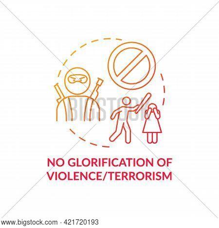 No Violence And Terrorism Glorification Concept Icon. Sm Safety Idea Thin Line Illustration. Fightin