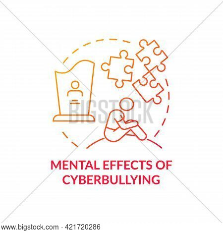 Mental Cyberbullying Effects Concept Icon. Negative Consequences Idea Thin Line Illustration. Feelin