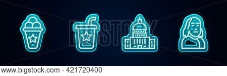 Set Line Ice Cream In Waffle Cone, Paper Glass With Straw, White House And Benjamin Franklin. Glowin