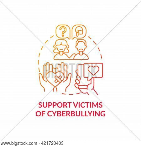 Supporting Cyberbullying Victims Concept Icon. Cyberbullying Prevention Idea Thin Line Illustration.