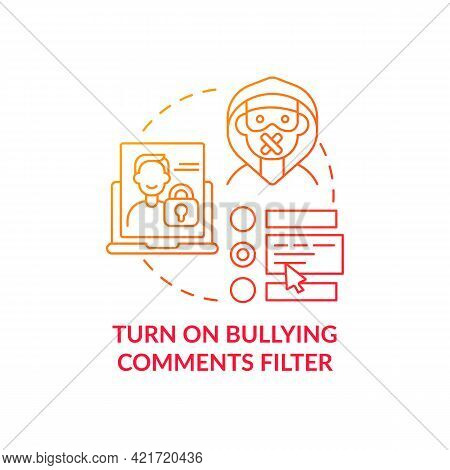Turning On Bullying Comments Filter Concept Icon. Offensive, Rude Content Detection Idea Thin Line I