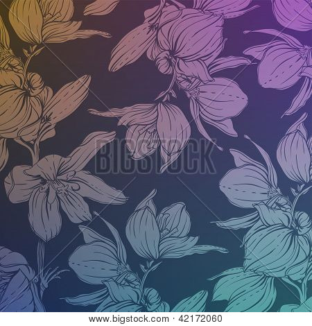 background with hand drawn flowers