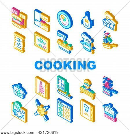 Cooking Courses Lesson Collection Icons Set Vector. Ingredients For Cooking And Wine Map, Cookbook W