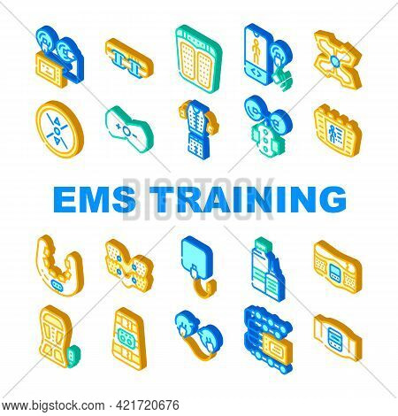 Ems Training Device Collection Icons Set Vector. Stimulator With Strap And Suction Cups, Massager Fo