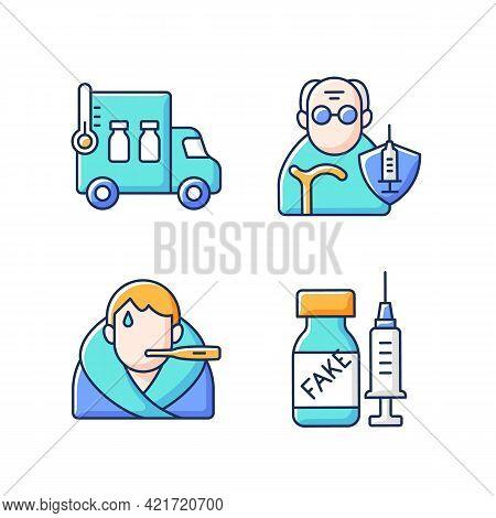 Covid Spread Prevention Rgb Color Icons Set. Vaccine Distribution. Senior Patient Immunization. Feve
