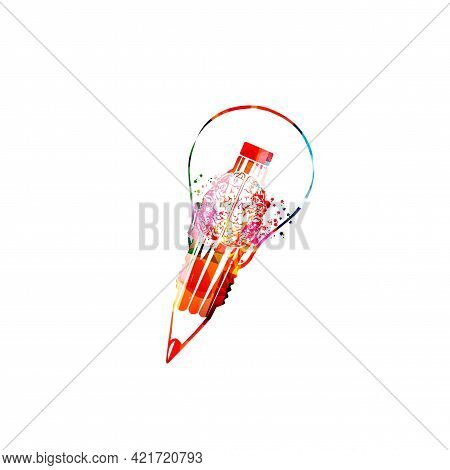 Colorful Pencil With Brain Symbol And Light Bulb For Creative Writing, Idea, Inspiration, Education,