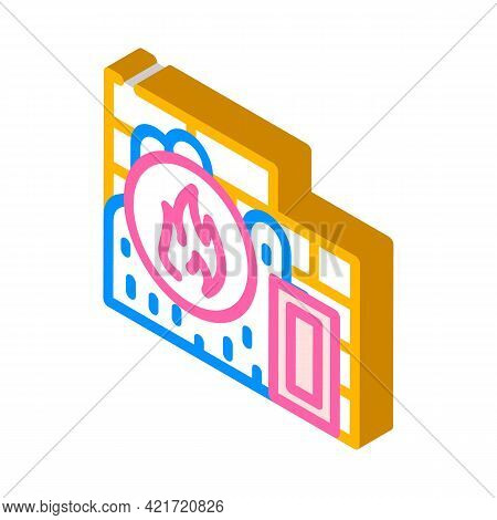 Flame Proof Building Material Isometric Icon Vector. Flame Proof Building Material Sign. Isolated Sy
