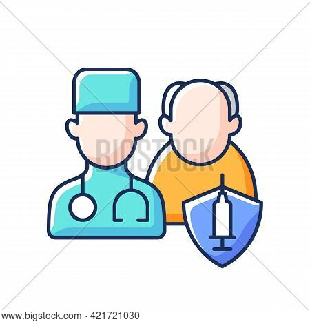 Vaccination Priority List Rgb Color Icon. Senior Patient With Doctor. Age Group For Vaccine Injectio