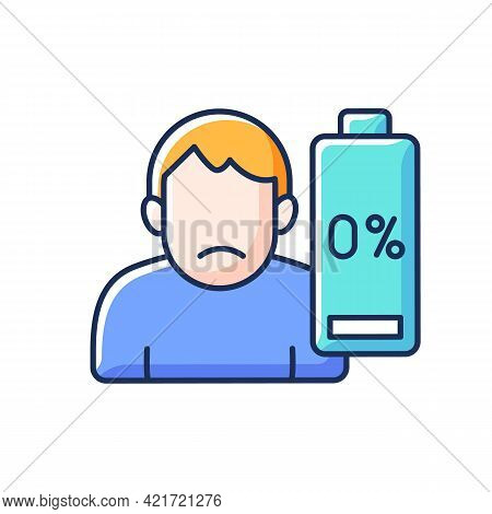 Vaccination Effect Rgb Color Icon. Drowsiness And Fatigue. Mental Health And Emotional Burnout. Phys