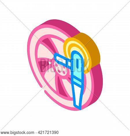 Wheel Disc Car Polishing Isometric Icon Vector. Wheel Disc Car Polishing Sign. Isolated Symbol Illus